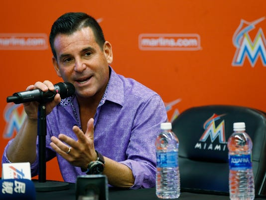 Miami Marlins president David Samson gestures as he says good bye to members of the media during a news conference before a baseball game against the Atlanta Braves, Thursday, Sept. 28, 2017, in Miami. Major League Baseball owners on Wednesday unanimously approved Jeffrey Loria's sale of the Miami Marlins to a group led by Bruce Sherman and Derek Jeter. (AP Photo/Wilfredo Lee)