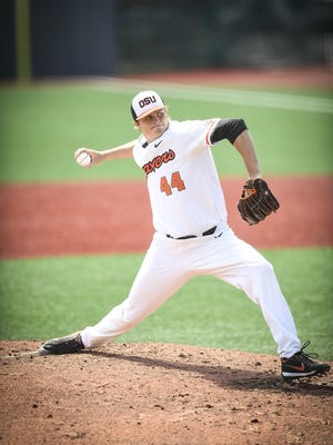 OSU's Jake Thompson recorded his 10th win of the season in a 10-2 victory over Cal at Goss Stadium on May 7, 2017.