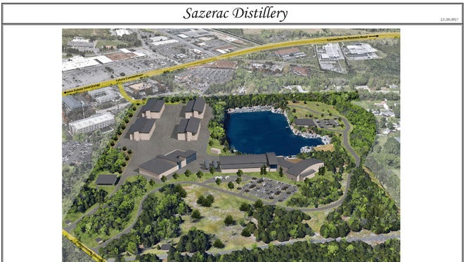 This rendering shows the concept plan for the proposed Sazerac Distillery off Florence Road in Murfreesboro.