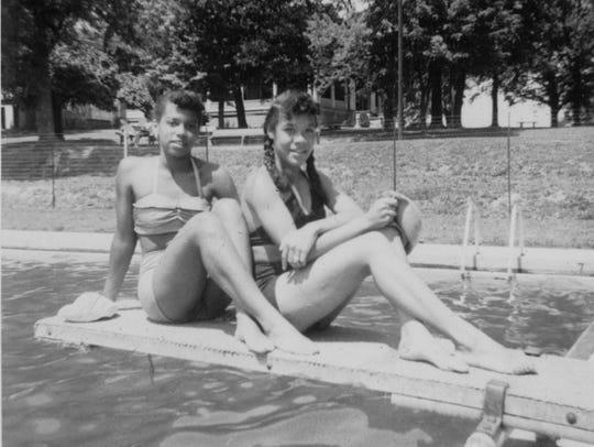 Girls enjoy the pool at Montgomery Hall Park.
