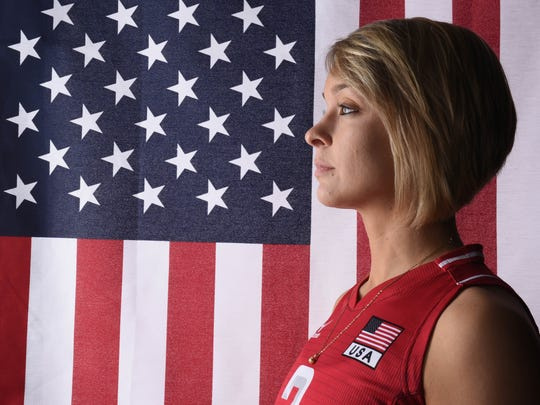 USA  volleyball athlete Kayla Banwarth, who grew up in Dubuque, poses for a portrait during the Team USA Media Summit at the Beverly Hilton.