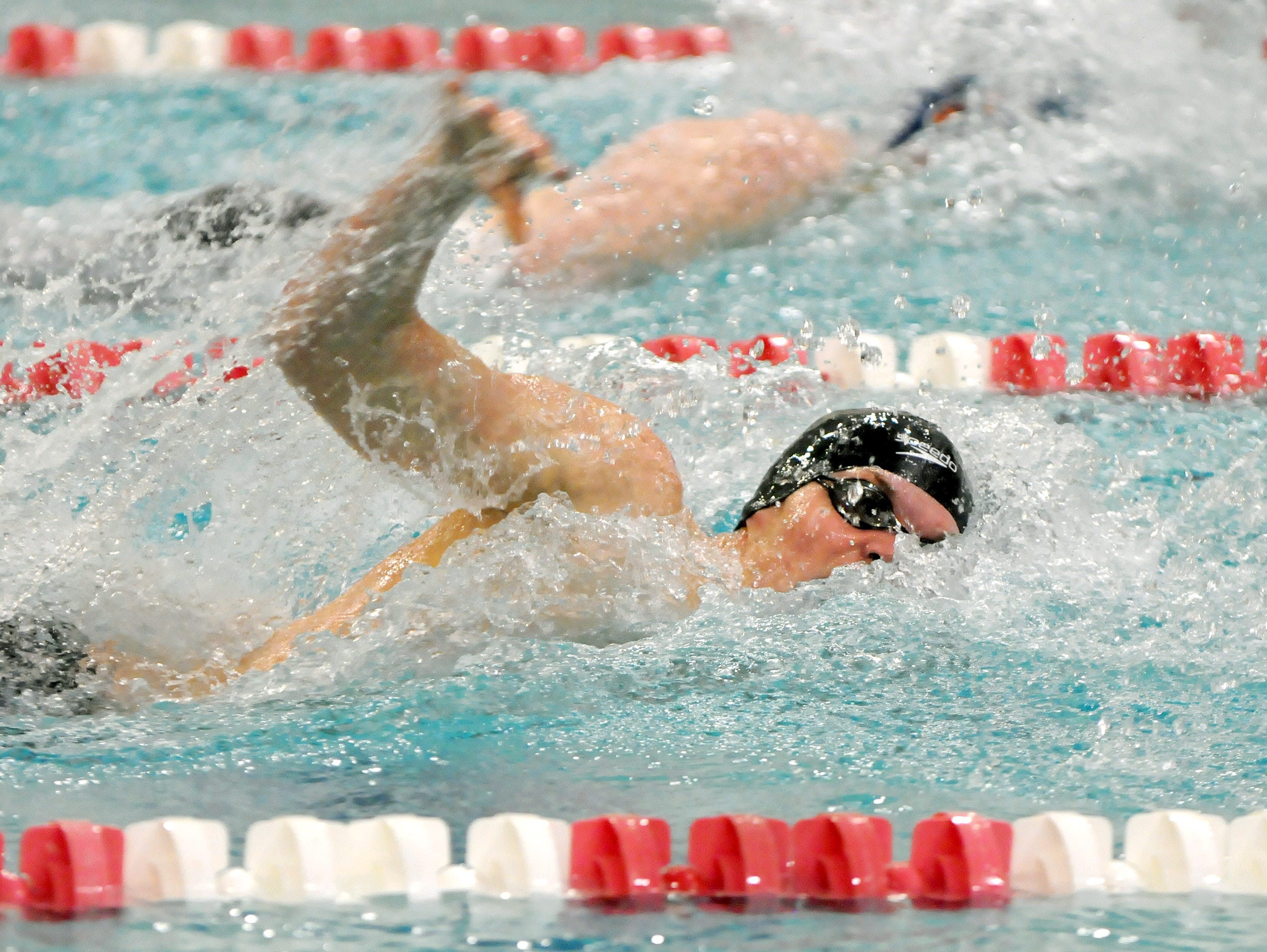 Tyler Hill, of Horace Greeley, swims the 100 yard Freestyle at the 2016 NYSPHSAA Swim Meet at the Erie Community College Flickinger Center in Buffalo, N.Y. on Friday, March 4, 2016. (Photo for The Journal News/ Don Heupel)