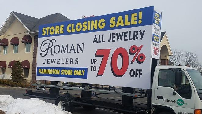 Roman Jewelers will be closing its Flemington location but keeping its Bridgewater store open.