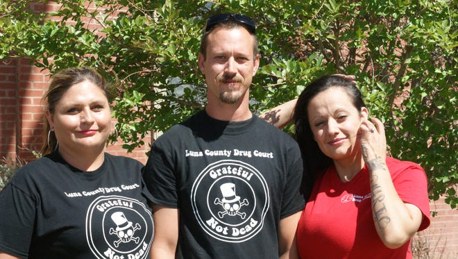 From left are Denise Maynes, Arlin Leum, and Amanda Herrera, all of Deming, are participants in the Adult Drug Court program. The five phase program is designed to help those struggling with substance abuse find sobriety and succeed in life.