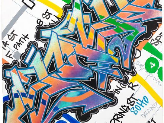 "Stash Two, ""Diamond Style,"" 1991, acrylic paint and"