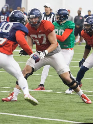 Redshirt freshman Alex Givens (67) has started the past three games at right tackle for Ole Miss.