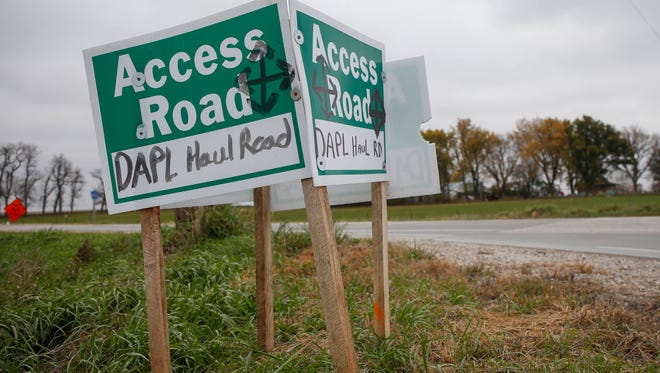 A sign for the Dakota Access Pipeline access road is posted near Shirley Gerjets' farm in Rockwell City. Gerjets and a group of protesters have made daily efforts to protest the construction, even setting up a camp in Gerjets' yard, which is less than a mile from the pipeline construction site. Gerjets' farm has been with her family for decades, and she is deeply concerned about the pipeline running through her field, citing eminent domain and oil spillage among her chief concerns.