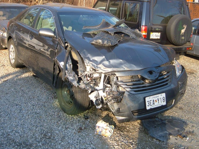 The wreck of a 2009 Toyota Camry driven by Harry William, a retired Army colonel, after what he alleges was a sudden, unintended acceleration accident in 2009 in Virginia