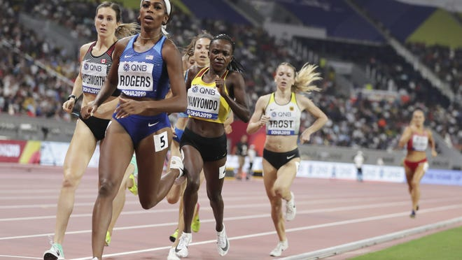 Former Oregon star Raevyn Rogers won a silver medal in the 800 meters at the 2019 World Athletics Outdoor Championships in Doha, Qatar.