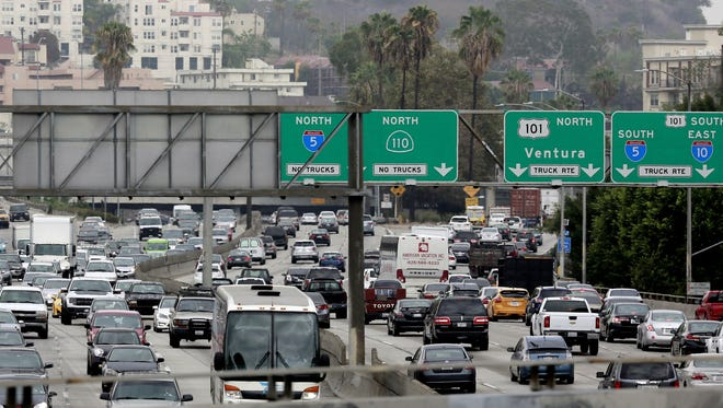 File photo taken in 2015 shows traffic tie-up as vehicles  enter the US 101 Ventura Freeway in Los Angeles as traffic from US 101 enters the California city's downtown area.