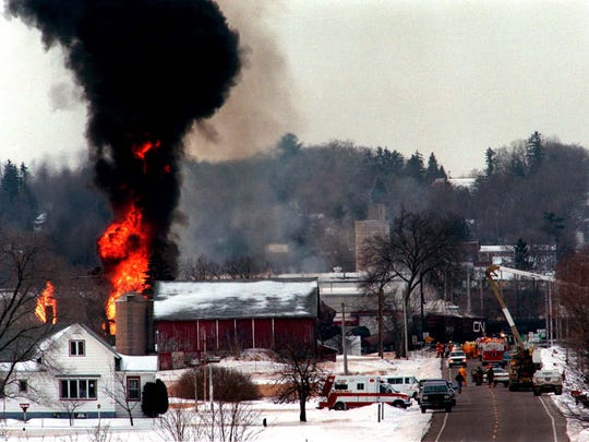 Thick, black smoke rises from the scene of the March 4, 1996, train derailment in Weyauwega.