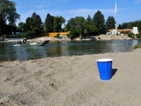 A plastic cup left on the beach at Park Island.