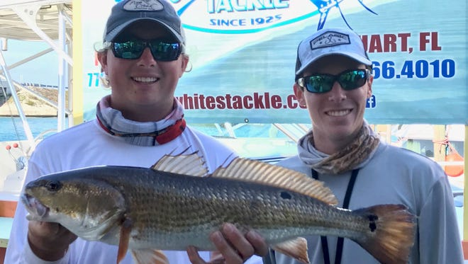 Kyle Kaufmann and Brandon Goldstein of Fort Pierce caught and released this 5.63-pound redfish Saturday to earn second place in the Backcountry Fishing Association's second tournament of 2017.