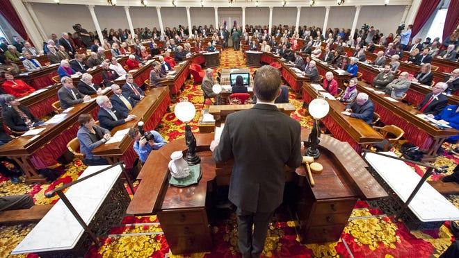 Lt. Gov. Phil Scott presides as the Legislature votes for governor at the Statehouse in Montpelier on Jan. 8, 2015.