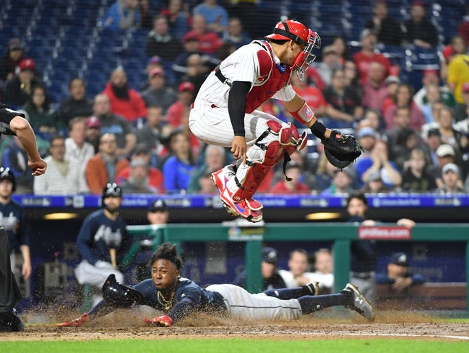May 22: Phillies catcher Jorge Alfaro leaps out of