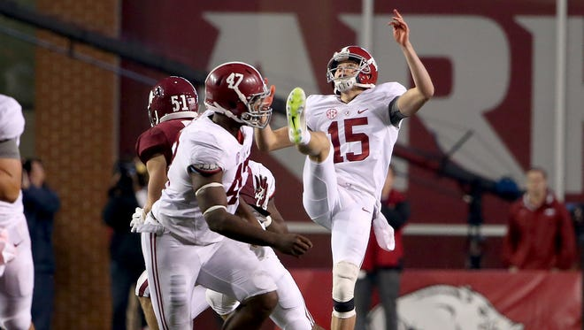 As he did against Arkansas, Alabama punter JK Scott (15) came through in the Tide's 25-20 win Saturday against Mississippi State.