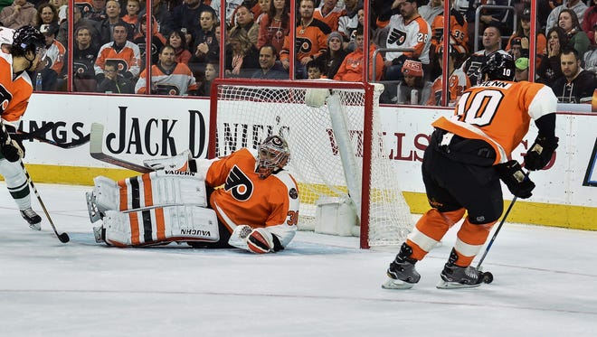Michal Neuvirth got hurt Saturday night in the Flyers' win. Anthony Stolarz will likely take his spot on the roster.