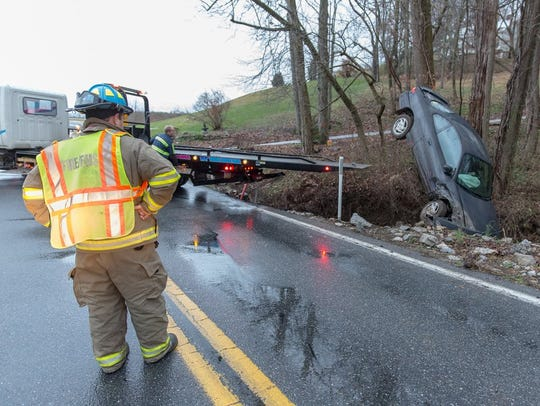 A vehicle was towed from the scene of a crash Thursday