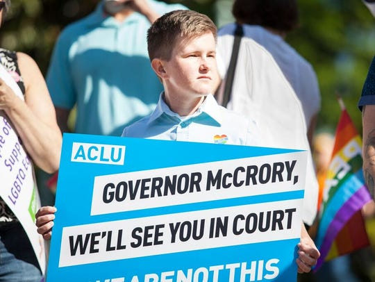 Payton McGarry at a rally on Monday in North Carolina.