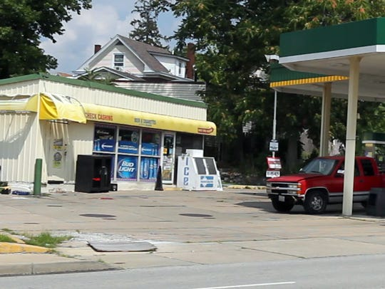 The exterior of the Harrison Food Mart where Anton