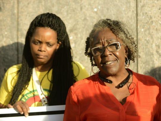 Kashad Ashford's mother, Regina Ashford, and grandmother, Cecille Hepburn, at a press conference.