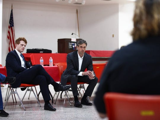 U.S. Reps. Joe Kennedy, III, and Beto O'Rourke speak with labor leaders in Houston on Wednesday as part of a campaign swing through Houston. O'Rourke is challenging Republican Ted Cruz for his seat in the U.S. Senate.