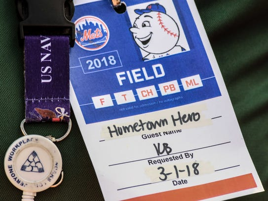Hometown Hero badge from the March 1 Spring training