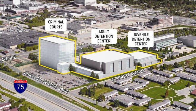 Rendering of proposal for new jail site on East Forest east of I-75 in Detroit.