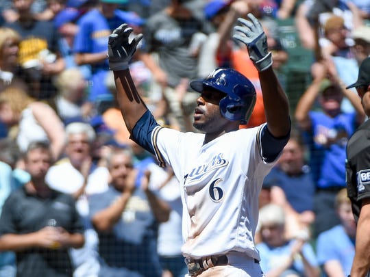 Lorenzo Cain celebrates after belting a solo home run