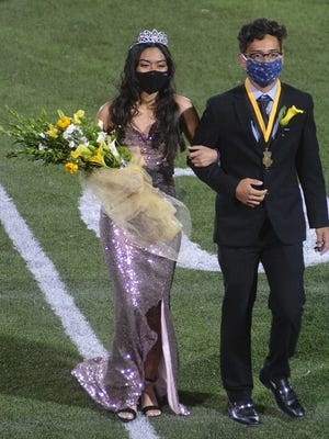 Alondra Valle, left. and Jason Catache were named the 2020 Newton High School Homecoming Queen and King, respectively, Friday at halftime of the Newton High School football game.