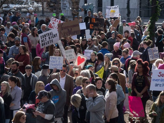 Attendees gather for the Knoxville Women's March at