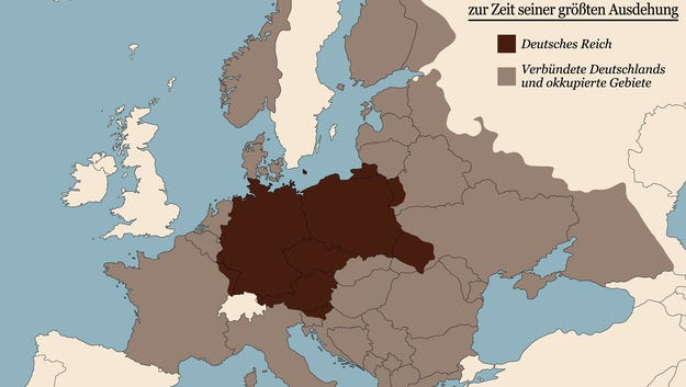 Third Reich at its greatest extent in 1942.