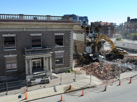 The facade of the old Louisville Water Company building was eventually saved and placed into storage. As seen in this mid-October 2015 photo, a crew was demolishing part of the old complex on Third Street.