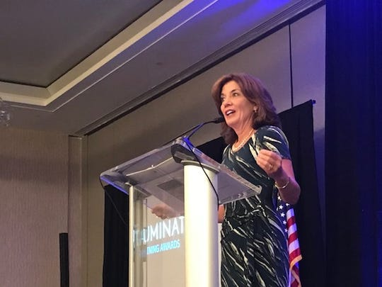 New York Lieutenant Governor Kathy Hochul speaks at the Luminate NY competition at the Hyatt Regency Rochester Wednesday.