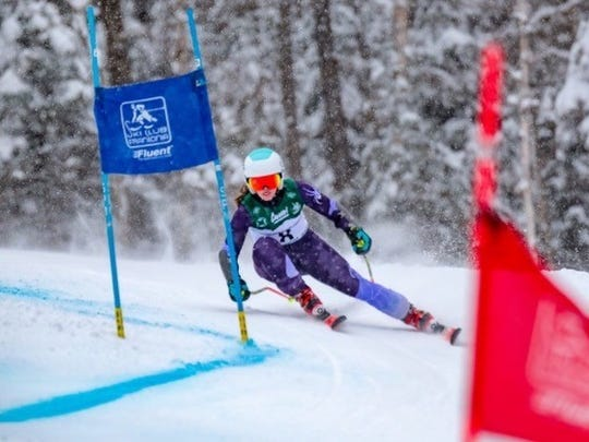 Kaitlin Devir GS Champion from Ridgewood High School at HS championships at Cannon Mountain, NH