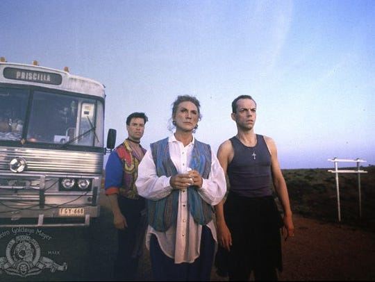 "Guy Pearce (from left), Terence Stamp and Hugo Weaving star in ""The Adventures of Priscilla, Queen of the Desert"" (1994)."