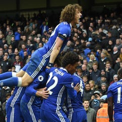 Chelsea's Eden Hazard celebrates scoring his team's