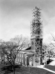 The newly constructed steeple was dedicated in 1958.