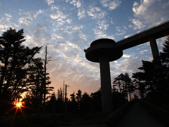 A view of the Clingmans Dome observation tower in the