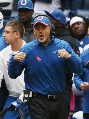 Indianapolis Colts head coach Chuck Pagano liked the way things were going in the first half against the Ravens. Indianapolis hosted Baltimore at Lucas Oil Stadium Sunday, October 5, 2014.