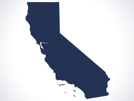 Dark blue silhouette of map of California on white