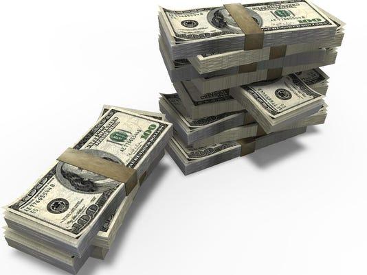 Stacks of American dollar bills