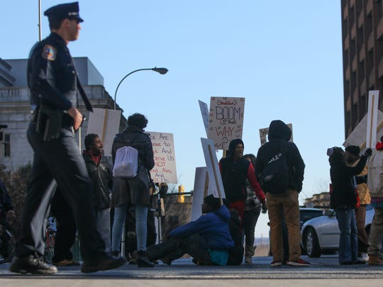 McDole protestors shut down the intersection of Market Street and 10th Street in Wilmington in January.