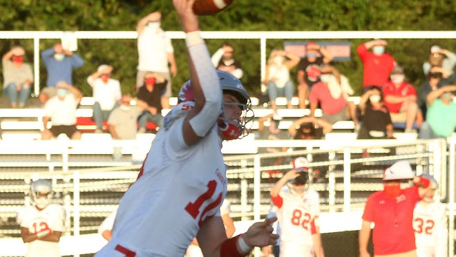 Sandy Valley quarterback Cameron Blair threw four touchdown passes and ran for three TDs in last week's win over Indian Valley.