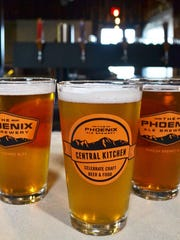 Glasses of beer at Phoenix Ale Brewery Central Kitchen