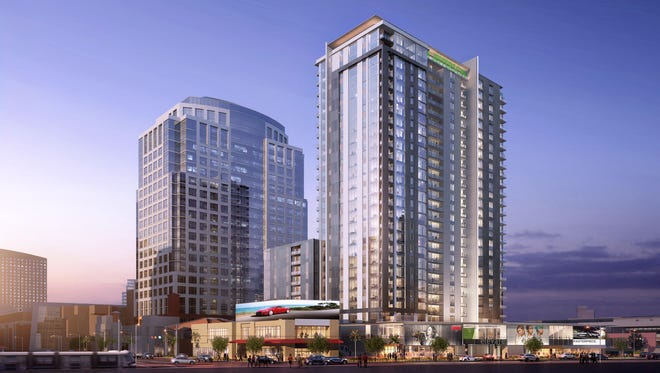 Hines' rendering of the 25-story condo tower it's planning in downtown Phoenix on the south end of Collier Center near Third and Jefferson streets.