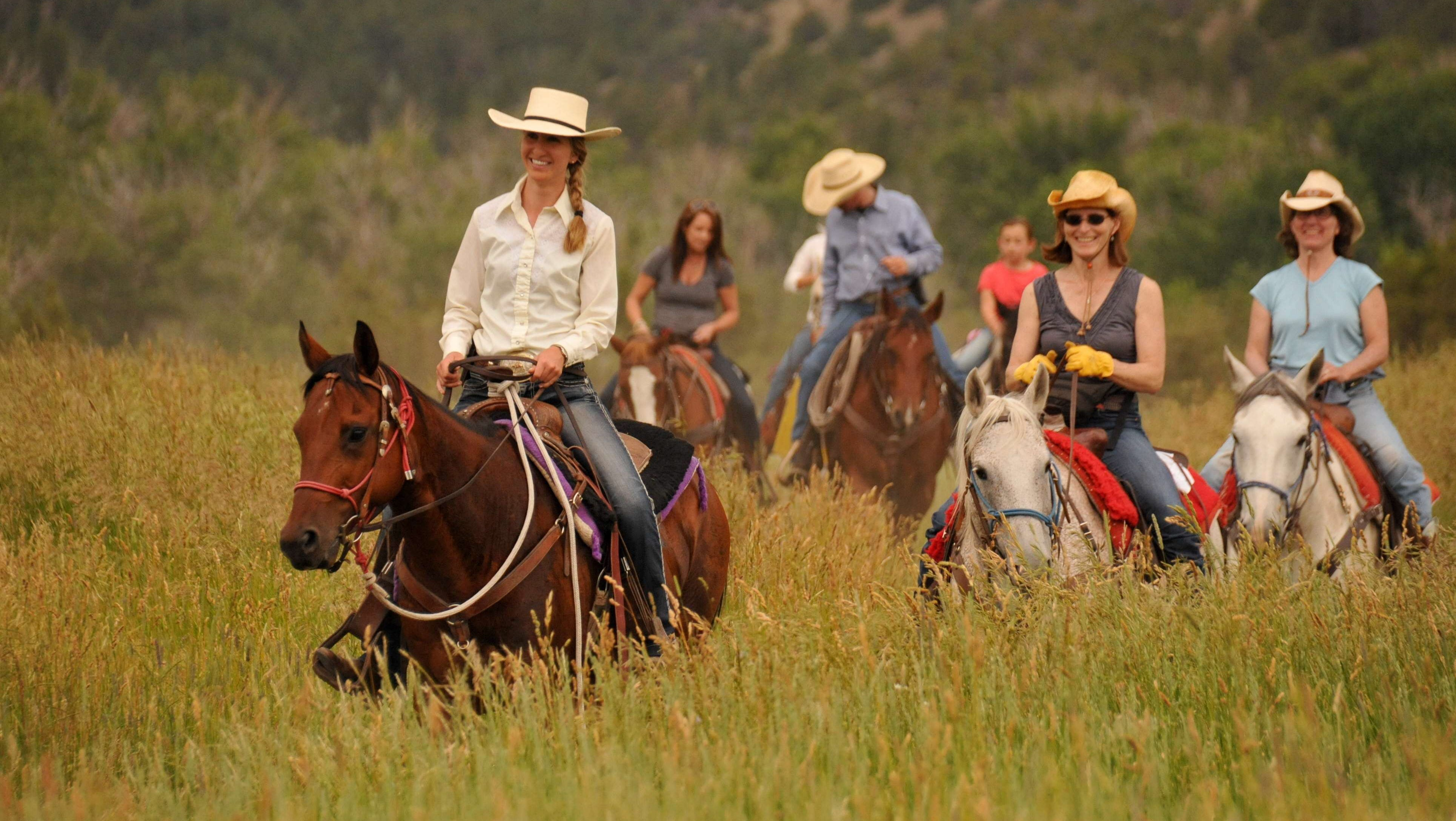 Guests at Mountain Sky Guest Ranch, an upscale 8,000-acre Paradise Valley property in Emigrant, Mont., can go horseback riding through sage and pine trees.