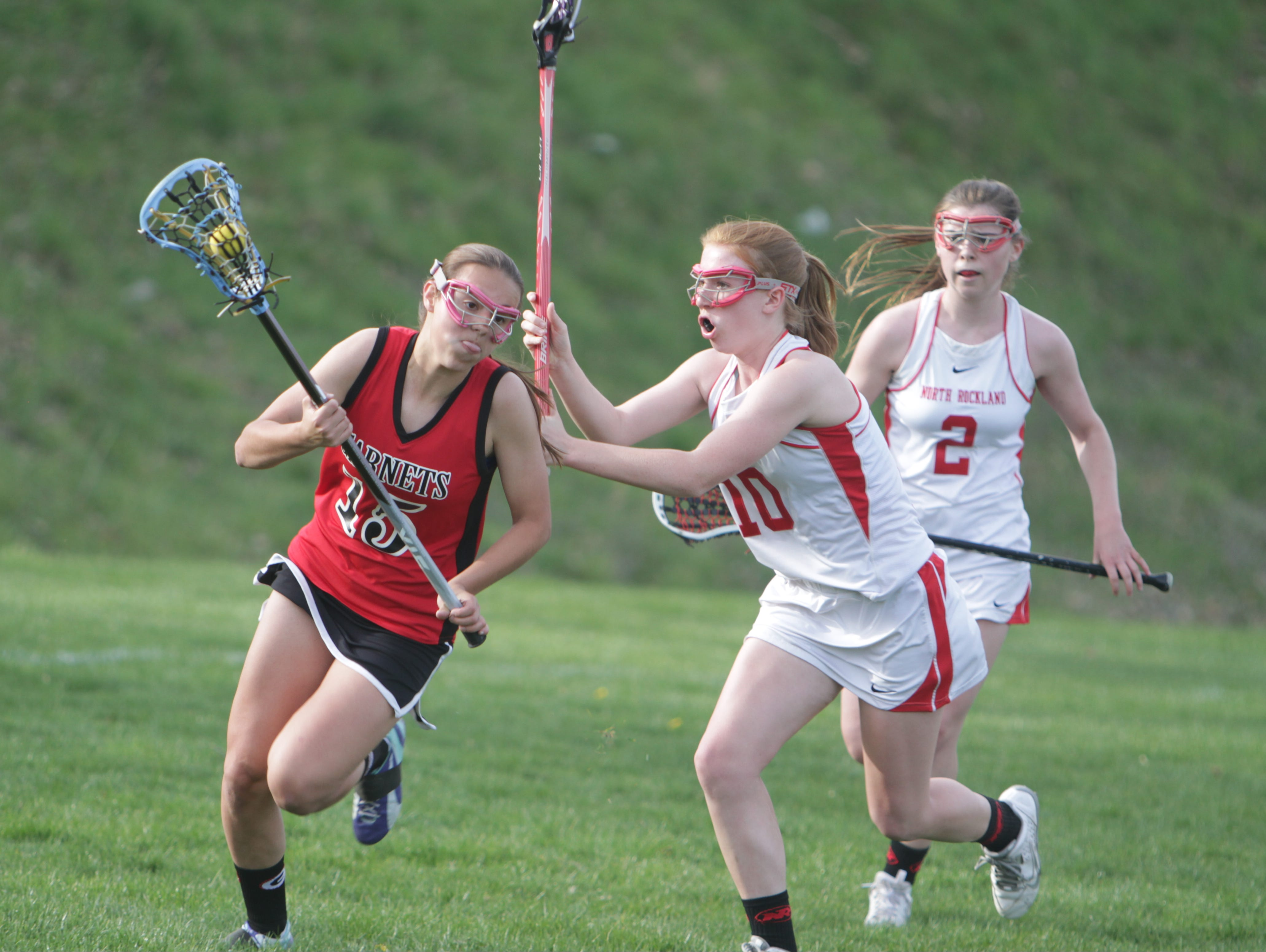 Action during a Section 1 girls lacrosse game between North Rockland and Rye at North Rockland High School on April 18. North Rockland won 10-5.