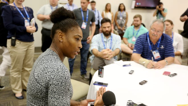 Serena Williams speaks to the media Tuesday during the Western and Southern Open at the Lindner Family Tennis Center in Mason.
