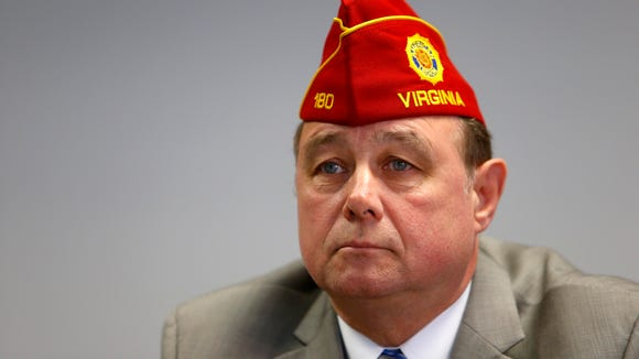 Daniel M. Dellinger, the National Commander at The American Legion, speaks to reporters about Veterans Affairs at The Arizona Republic Tuesday, May 13, 2014, in Phoenix, Az.